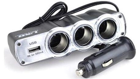 Roztrojka + USB do zapalovače automobilu