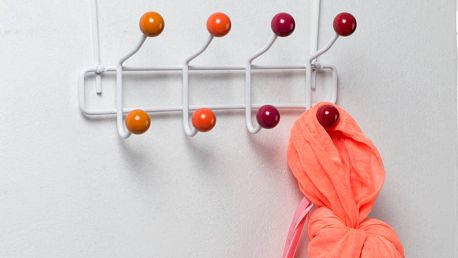 Oranžový věšák na dveře s 8 háčky Compactor Colorful