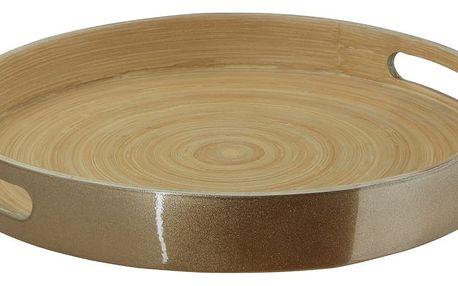 Servírovací podnos z bambusu ve zlaté barvě Premier Housewares, ⌀ 30 cm