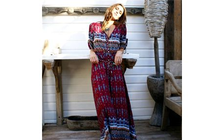 Letní šaty s bohémskými motivy - varianta A - velikost č. 5 - dodání do 2 dnů
