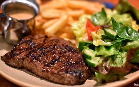 200g steak z vepřové kýty, hranolky a tatarka