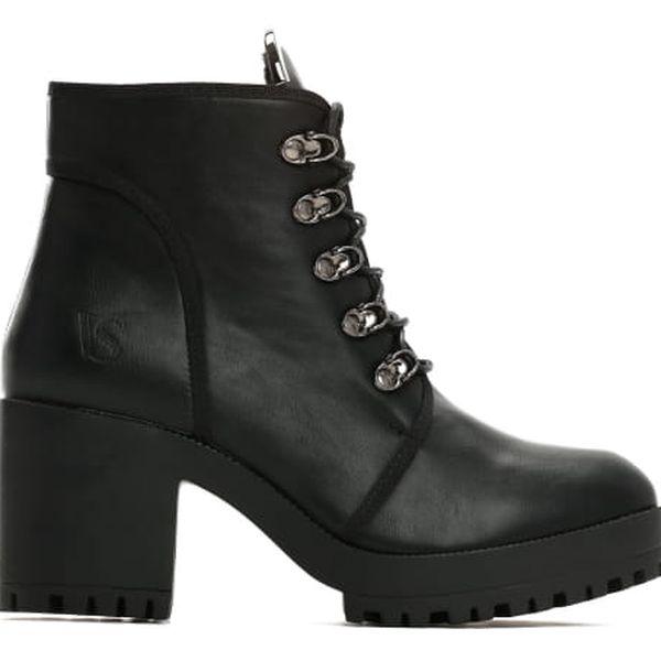 Dámské černé lesklé kotníkové boty Georgie 2111a