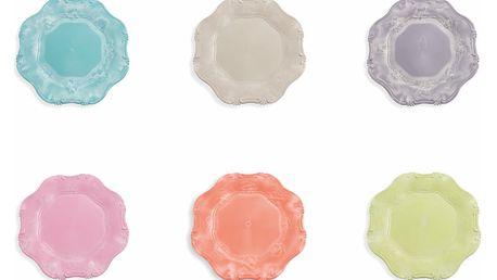 Sada 6 barevných talířů Villa d'Este Duchess, Ø 34.5 cm