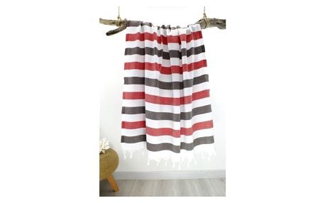 Červeno-šedá pruhovaná Hammam osuška Rainbow Style, 100 x 180 cm