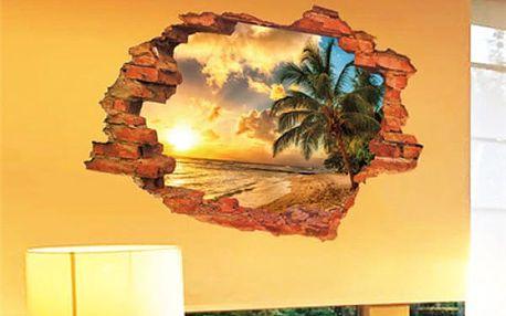3D samolepka na zeď s imitací výhledu do přírody - dodání do 2 dnů
