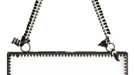 MADAM STOLTZ Skleněný fotorámeček Orient Black - vodorovný, černá barva, čirá barva, sklo, kov
