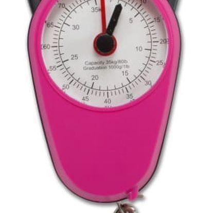 Ružová váha pro zvážení kufru Bluestar