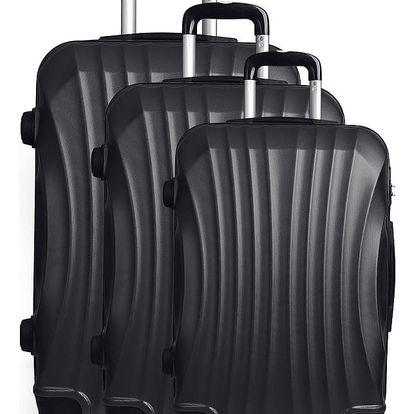 Sada 3 černých cestovních kufrů na kolečkách Hero Anderson