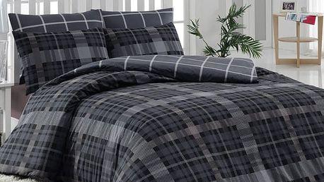 Tiptrade Bavlna povlečení Checker šedý, 140 x 220 cm, 70 x 90 cm