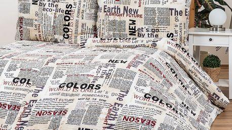 Povlečení Mikroplyš Newspaper, 140 x 200 cm, 70 x 90 cm