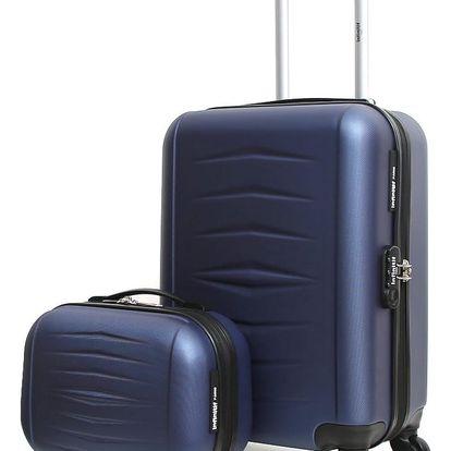 Set modrého cestovního kufru na kolečkách a kufříku INFINITIF