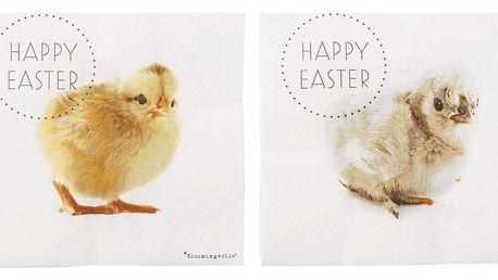 Bloomingville Velikonoční papírové ubrousky Chicks, žlutá barva, bílá barva, papír