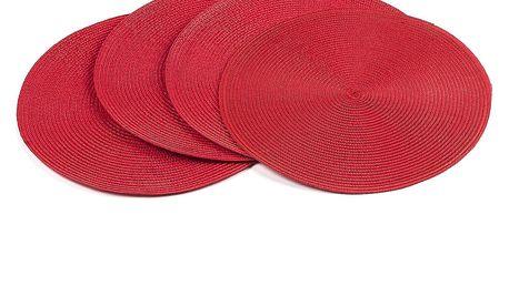 Jahu Prostírání Deco kulaté červená, sada 4 kusů, 35 cm
