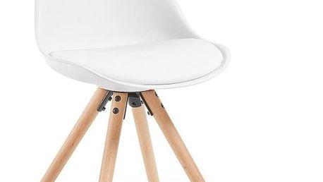 Sada 4 bílých jídelních židlí s dřevěným podnožím La Forma Lars