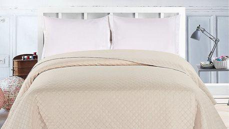 DecoKing Přehoz na postel Adam krémová, 220 x 240 cm