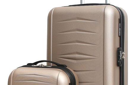 Set béžového cestovního kufru na kolečkách a kufříku INFINITIF
