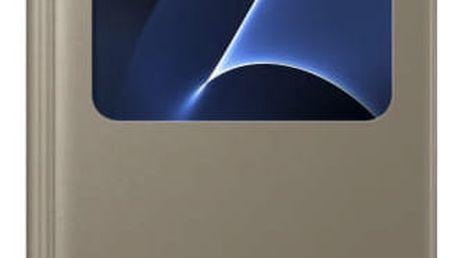 Pouzdro na mobil flipové Samsung S-View pro Galaxy S7 (EF-CG930P) zlaté (EF-CG930PFEGWW)