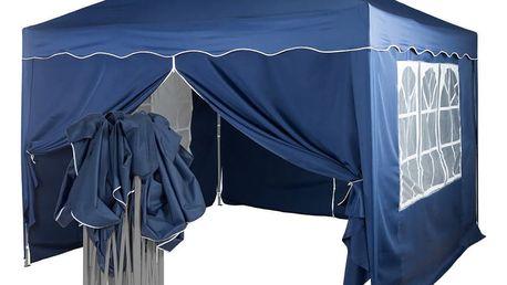 Tuin 36867 Zahradní párty stan nůžkový 3x3 m + 4 boční stěny - modrá