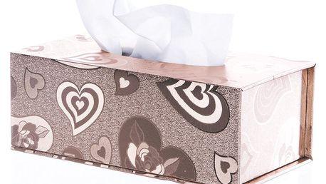 Krabička na papírové kapesníky bronzové srdce