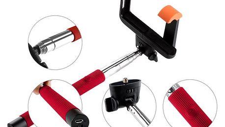 Selfie tyč GoGEN 2 teleskopická, bluetooth červená (GOGBTSELFIE2R)