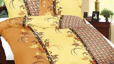 Bellatex Povlečení bavlna Konvalinka béžová, 140 x 200 cm, 70 x 90 cm