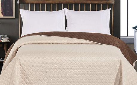 DecoKing Přehoz na postel Axel hnědá/krémová, 220 x 240 cm