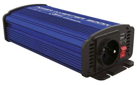 Měnič napětí do auta 12V/230V, 600W, USB 2100mA (N0037)