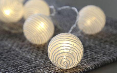 STAR TRADING Světelný lampionový řetěz Spiral, bílá barva, plast, textil
