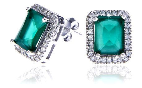 Fashion Icon Náušnice - stříbrné se zeleným krystalkem