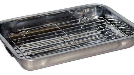 Nerezový pekáč s grilovací mřížkou, 41 x 29,5 x 5,5 cm