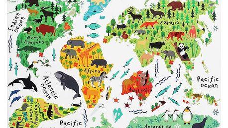 Samolepka na zeď - mapa světa se zvířátky