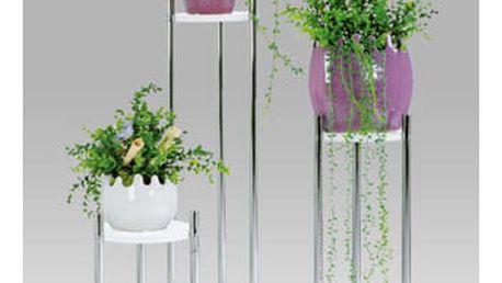 Sada stojanů na květiny GC0829 WT - chrom/bílá