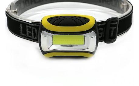 LED čelovka se žlutými znaky