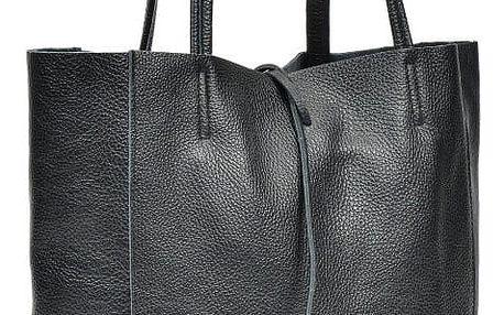 Černá kožená kabelka do ruky i na rameno Anna Luchini Luciana