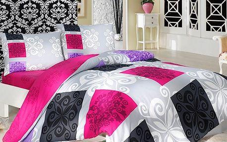 Bedtex bavlněné povlečení Sedef Růžové, 140 x 200 cm, 70 x 90 cm