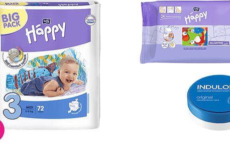 2x BELLA HAPPY Midi 3 pleny (5-9 kg) 72 ks + Indulona Tělový krém 75 ml + Happy Wipes 24 ks