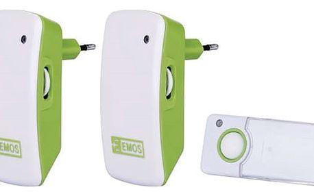 Zvonek bezdrátový EMOS P5742, do zásuvky, 100m bílý/zelený (3402042000)