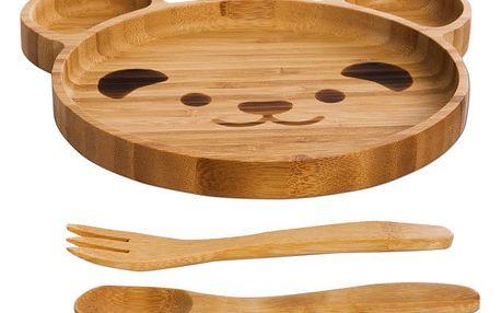 Jídelní set pro děti z bambusu Bambum Teddy