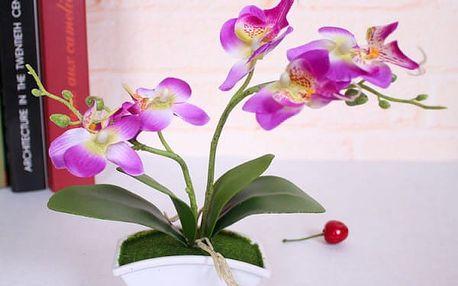 Umělá motýlí orchidej v květináči - 4 barvy