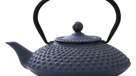 Modrá litinová konvice se sítkem na sypaný čaj Bredemeijer Xilin, 1,25l