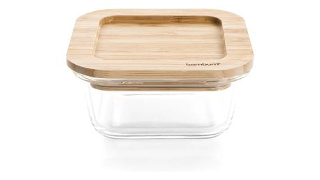 Sklěněný úložný box s víčkem Bambum Lavi, 11,5 x 11,5 cm