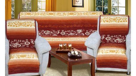 Bellatex Přehozy na sedací soupravu Karmela Plus Květy medové, 150 x 200 cm, 2 ks 65 x 150 cm