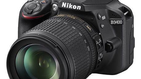 Digitální fotoaparát Nikon D3400 + 18-105 AF-S DX VR + 4x čištění čipu zdarma černý (VBA490K003)