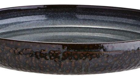 MADAM STOLTZ Kameninový talíř Grey - větší, šedá barva, hnědá barva, keramika