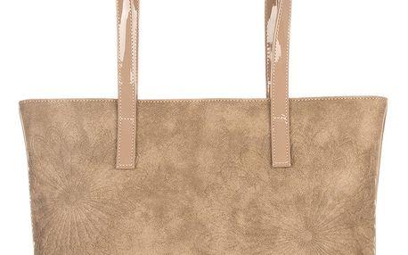 Tapple Velká kabelka lakovaná semišový vzhled s ornamenty