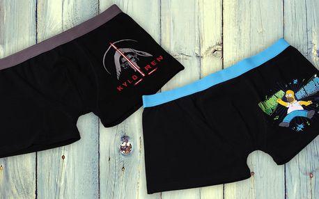 Pánské bavlněné boxerky Star Wars a Simpsons