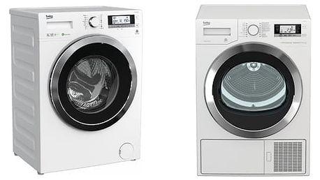Set (Sušička prádla Beko DE 8635 RX0) + (Automatická pračka Beko Superia WMY 81443 STB1)