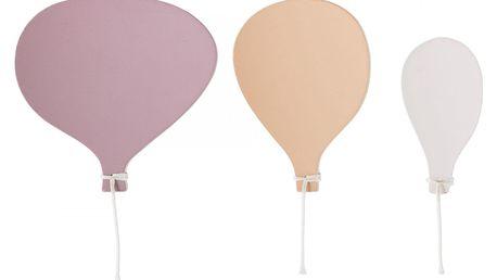 Bloomingville Dřevěné věšáčky Balloon Rose - set 3ks, růžová barva, fialová barva, oranžová barva, dřevo, kov