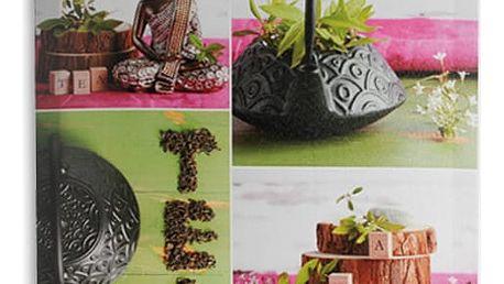 Obrázky Budhy a s motivy čaje na lněném plátně 50 x 50