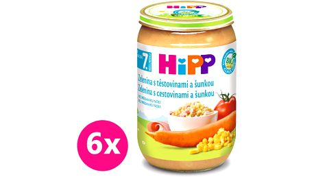 6x HIPP BIO zelenina s těstovinami a šunkou (220 g) - maso-zeleninový příkrm